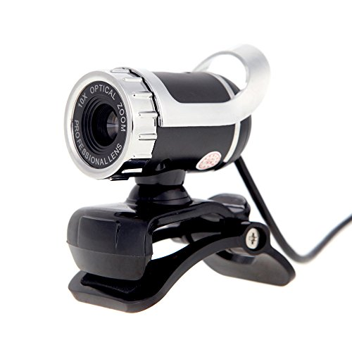KKmoon Webcam Kamera HD USB 2,0 50M Pixel 360Grad verstellbar mit integriertem Mikrofon für Skype, für Büro, Computer, Laptop silber