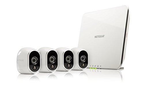 Netgear Arlo VMS3430-100EUS Smart Home 4 HD-Kamera-Sicherheitssystem Überwachung (100% kabellos, Indoor/Outdoor, sensor, Nachtsicht) weiß