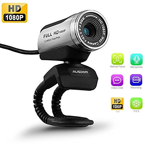 USB Webcam 1080P, ausdom 12,0 m HD Kamera Web Cam mit integriertem Mikrofon Wechselrahmen für Laptop Desktop Computer PC Skype vedieo Call & Aufnahme, kompatibel mit Windows 7/8/10, Belichtungsautomatik, DIGITAL Zoom – Schwarz