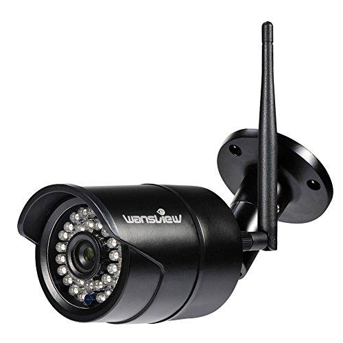 Wansview W2 IP Kamera / 1080P HD Sicherheitskamera für Außen / IP cam mit LAN & Wlan Verbindung / Outdoor IP66 wasserdichte Netzwerkkamera, Infrarot Nachtsicht, deutsche App/Anleitung/Support, schwarz