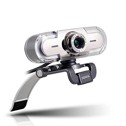 Webcam 1080P PAPALOOK PA452 USB Kamera Full HD mit Noise Cancelling Mikrofon für PC und Notebook, kompatibel mit Windows XP SP2 / Vista / 7 / 8 / 10