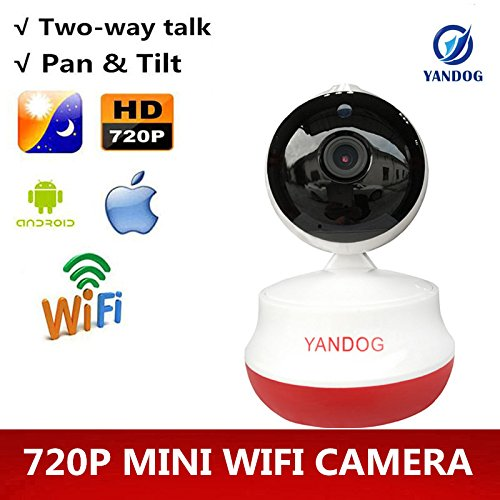 YANDOG Monilon Wireless Webcam HD Wifi Camera 360 Degrees Rotating Baby Monitor with Infrared Night Vision, Memory Card Slot, Two Way Audio, Remote view [With Europe Plug]