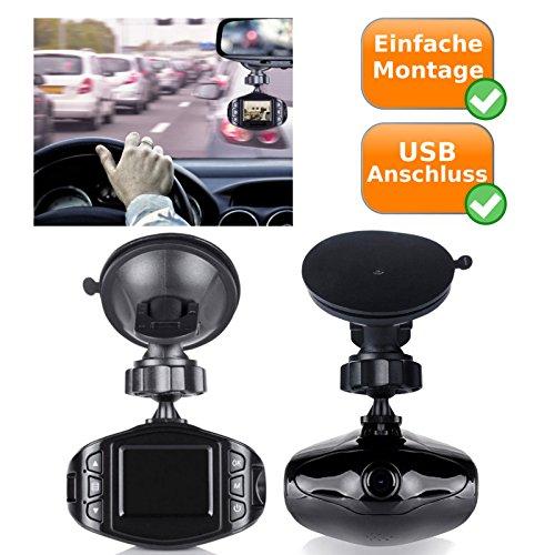 Überwachungskamera fürs Auto mit USB Anschluss, Autokamera mit Mikrofon + 1,5Zoll TFT-Bildschirm