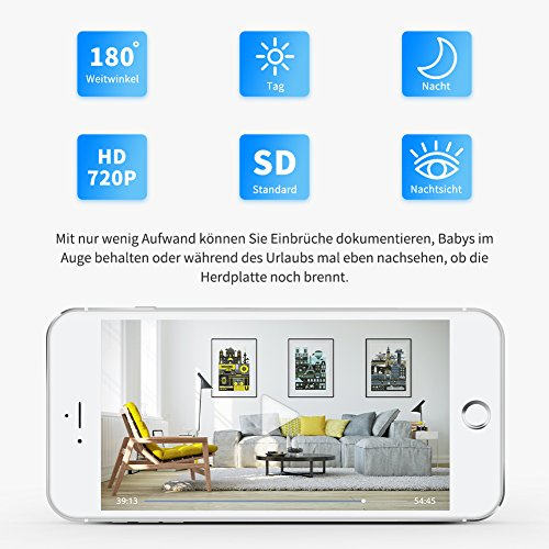 berwachungskamera loetad ip kamera 720p hd wifi audio. Black Bedroom Furniture Sets. Home Design Ideas